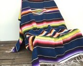 Mexican Sarape Saltillo Blanket, Indigo Blue Bedding, Tribal Decor