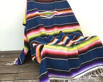 Mexican Sarape Saltillo Blanket, Indigo Blue Bedding, Tribal Decor