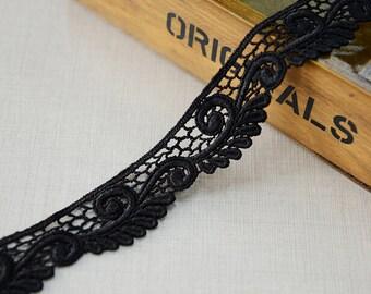 """5 yard 3.3cm 1.29"""" wide black scalloped lace trim ribbon L22K486 free ship"""