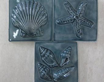 Handmade Ceramic Tiles -- 3x3 SeaShore Tiles, Set of 3 in Nairobi Blue Glaze, Shells, Starfish, In Stock