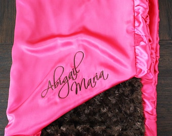Baby girl, blanket for girl, embroidered blanket, blanket with name, personalized blanket, hot pink and brown, ruffle blanket, lovie