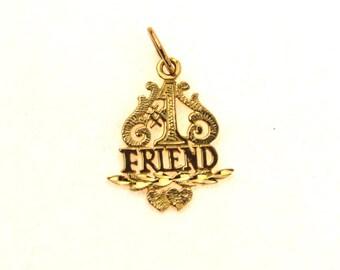 BFF #1 Friend Pendant Charm in 14k Gold