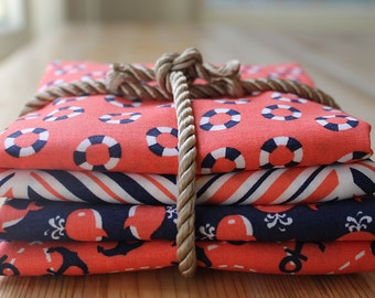 Nautical fat quarter bundle - Michael Miller - 4 fabrics