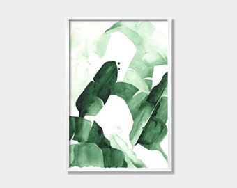 """20 x 30 """"Beverly I"""" Tropical Banana Palm Leaves Watercolor Giclee Fine Art Print Poster"""
