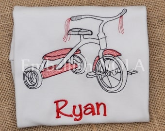 Little Red Tricycle Embroidered Shirt