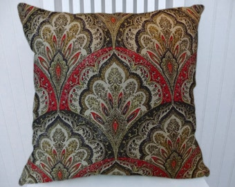 Red Gold Suzani Pillow Cover---18x18 or 20x20 or 22x22 Decorative Throw Pillow-Accent Pillow