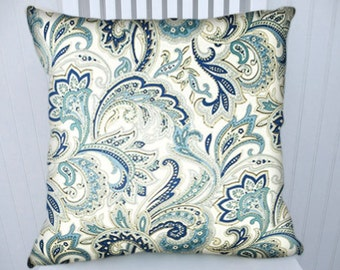 Blue Paisley  Pillow Cover-  18x18 or 20x20 or 22x22 Decorative Throw Pillow- Decorative Accent Pillows