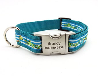 Dinosaur and Alligator Dog Collar with Laser Engraved Personalized Buckle - TEAL