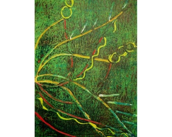 Pieces of Geometry 1/2 Original Monoprint Contemporary Abstract Acrylic Painting 5x7 Green Yellow Red Lines