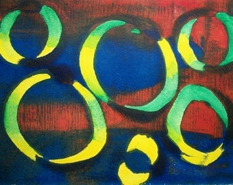 Six Circles 2/2 Original Monoprint Contemporary Abstract Acrylic Painting 5x7 Blue Red Green Yellow