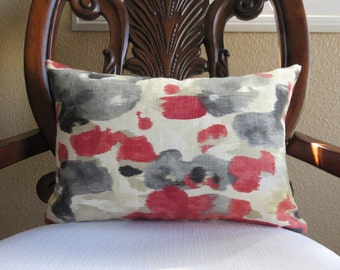 Decorative Lumbar Cover, Red Pillow Cover, Gray Pillow, Cream Pillow, Red Gray and Cream Pillow, 12x18,12x20
