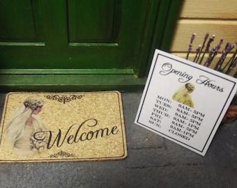 Dollhouse Wedding / Bridal Shop 1:12 Miniature Handmade 'Welcome' Doormat & Opening Hours Sign