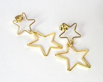 Gold Star Earrings, Cocktail Jewelry, Gift for Her, Whimsical Earrings, Celestial Jewelry, Star Post Earrings