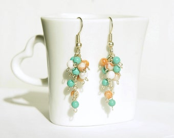 Natural Stone Dangle Earrings: Turquoise and Coral