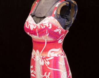 1950s Swimsuit // Hawaiian Sunset Colored Playsuit by Paradise Hawaii