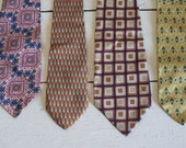 Vintage French Neckties // 1970 Men's Fashion Ties set of Four