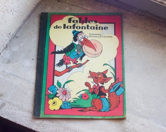 Antique French Fairytale Book // 1930 Children's Book  Fables de la Fontaine