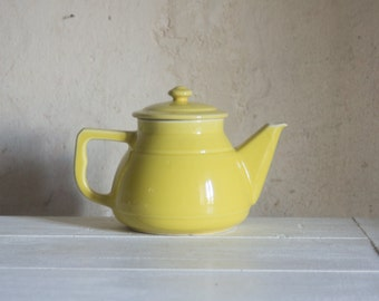 French Ceramic Coffee Pot // 1940's Large Yellow Teapot