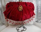 Red Velvet Vintage Look Clutch Purse