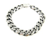 Mens Stainless Steel Bracelet, 13mm 1/2 Inch Heavy Thick Curb Link Chain 9 Inch Bracelet for Him