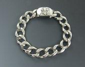 Mens Stainless Steel Bracelet, 16mm 1/2 Inch Very Heavy Thick Curb Link Chain Bracelet for Him Fleur de Lis Clasp
