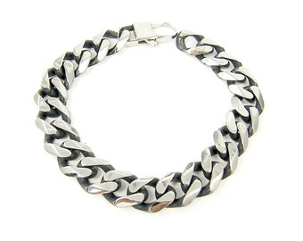 Mens Stainless Steel Bracelet, 13mm 1/2 Inch Heavy Thick Curb Link Chain Size 8 9 10 Inch Bracelet for Him |BC2-29