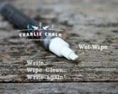 White Chalk Marker Pen WET-WIPE Chisel Tip 6mm, Chalk Pen, Chalk Alternative, Dustless Chalk Marker, Window Marker