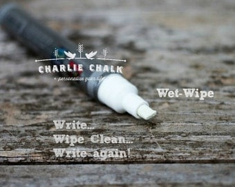 White Chalk Marker Pen,WET-WIPE Chisel Tip,6mm,Made in Japan,Non Toxic Chalk Pen,Chalk Alternative,Chalkboard Artist Markers,Chalkboard Pens