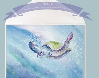 Sea Turtle Painting Greeting Card - Solo by Dotty Reiman  - option to add your personal message inside of card