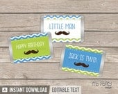Little Man Birthday Party - Mustache Party - Mini Chocolate Wrappers - INSTANT DOWNLOAD - Printable PDF with Editable Text