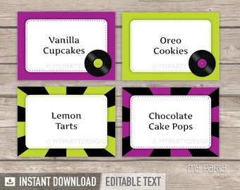 Music Party - Food Labels - Place Cards - INSTANT DOWNLOAD - Printable PDF with Editable Text