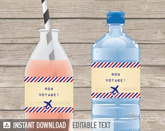 Travel Party / Farewell Party - Bottle Labels - Vintage - INSTANT DOWNLOAD - Printable PDF with Editable Text