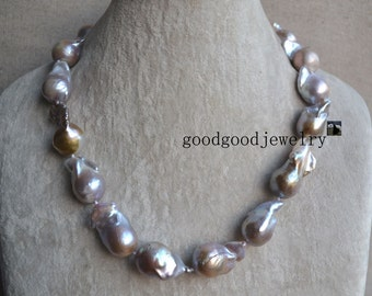 Huge Nucleated Lavender Pearl Necklace -18.5 inches 15-17mm freshwater pearl necklace,big pearl necklace,Choker Pearl necklace