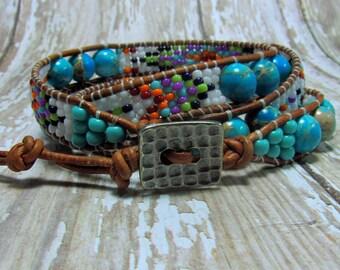Leather Wrap Bracelet, Jasper Bracelet, Turquoise Bracelet, Southwest Bracelet, Seed Bead Bracelet, Triple Wrap Bracelet, Southwest Jewelry