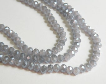 Wisteria Dusty Lavender AB faceted glass rondelle opalescent beads 6x4mm full strand PEGLA-F05-2