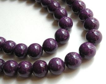 Riverstone beads in grape purple round gemstone 12mm full strand 4309GS