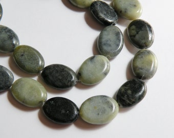 Natural Green Serpentine flat oval beads 14x10mm half strand 13 beads BF22