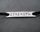 STRENGTH Wrap Bracelet  - Inspirational Jewelry - Motivational Jewelry - Nickel Silver Pendant on 3 feet of Micro Fiber Suede - Shoe Lace