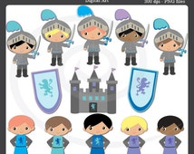 Knights & Princes clip art Personal and Commerical Use Clipart Set - Instant Download