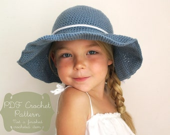Crochet Pattern: The Rae Sun Hat-3 Sizes Included Toddler, Child, Adult- sun hat sun protection floppy brim