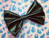 Black Vinyl Bow Clip (hair bow or bow tie)