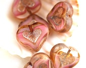Striped Pink Heart beads, Crystal pink, Picasso beads, czech glass, table cut, glass heart - 14mm - 6Pc - 0355