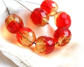 Czech glass beads, Red and Yellow Amber,  fire polished, round beads, faceted beads - 10mm - 6Pc - 2031