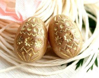 Easter eggs, czech glass beads, Beige glass beads, Bird eggs, Easter decoration, Gold ornament, oval beads, 20mm - 2Pc - 1915