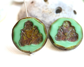 Turquoise green Buddha figure beads pair, czech glass picasso beads, buddhist theme, yoga inspired - 23mm - 2Pc - 0453