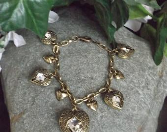 Winged Heart Bronze Charm Style Bracelet