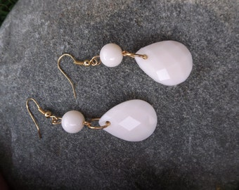 Cream Colored Faceted Teardrop Earrings