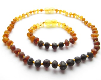 Baltic Amber Teething Necklace and Bracelet/Anklet, Raw Unpolished Rainbow Color Rounded Beads