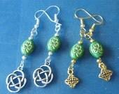 OOAK! St. Patrick's Day Charm Earrings! Gold or Silver! Shamrocks, Celtic Knots, Irish Earrings, Good Luck Earrings, Teens, Women's Earrings
