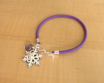 Sarcoidosis Awareness Bracelet - Purple Rubber with White Snowflake Charm